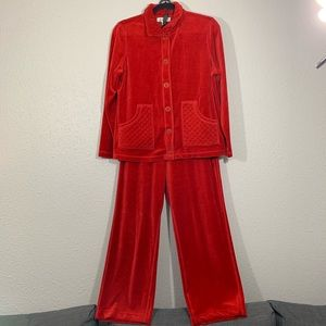 Coldwater Creek Two Piece Velour Red Leisure Set